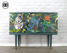 Stunning Upcycled Mid century Schreiber Sideboard TV Unit African Decoupage