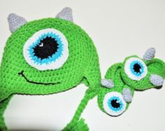 Mike Wizowski hat and matching shoes, monsters inc hat and shoe set, crochet monsters inc hat and shoes, monsters in cake smashe, smash cake