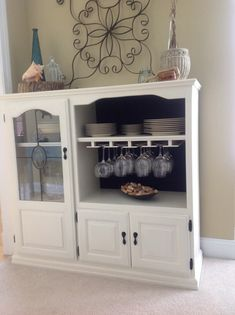 Repurpose An Old Tv Cabinet . Add Wine Racks To Narrow Section Instead Of  Glass Door