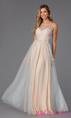 Sleeveless Floor Length Embroidered Nina Canacci Dress at PromGirl.com $378