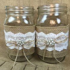 *SET OF TEN Burlap and Lace Mason Jars Quart wide mouth Wraps/Sleeves* *Listing DOES NOT include Mason jars. These wraps will add beauty and Burlap Mason Jars, Quart Mason Jars, Mason Jar Centerpieces, Wine Bottle Crafts, Mason Jar Crafts, Mason Jar Diy, Decoration Birthday, Wedding Jars, Rustic Wedding