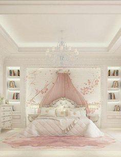 Luxury Girl Bedroom Design Ideas To Inspire you Interior Design - Bedroom Design: Luxury Girl Bedroom Design Ideas To Inspire you In… - Dream Rooms, Dream Bedroom, Home Bedroom, Bedroom Decor, Luxury Kids Bedroom, Luxury Bedding, Bedroom Furniture, Fairytale Bedroom, Bedroom Fun