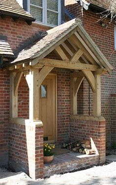 9 fantastic veranda ideas for your next project - # for . 9 fantastic veranda ideas for your next project - # next In modern cities, it is almost. Design Exterior, Door Design, Front Door Porch, Porch Oak, Front Door Canopy, Front Porches, Porch Wooden, Brick Porch, Oak Front Door