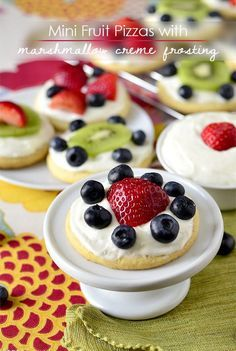 Mini Fruit Pizzas with Marshmallow Creme Frosting are customizable, sweet, and delicious.