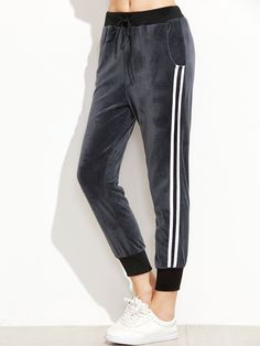 Shop Dark Grey Ribbed Trim Striped Side Velvet Pants online. SheIn offers Dark Grey Ribbed Trim Striped Side Velvet Pants & more to fit your fashionable needs.