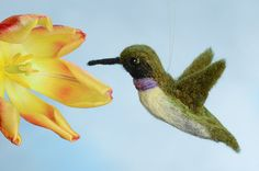 Hummingbird Black-Chinned wool felted handmade by WildThingsMaine