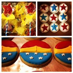 Wonder Woman cookie and treat ideas Baby Wonder Woman, Wonder Woman Superhero, Girl Superhero Party, Wonder Woman Birthday, Wonder Woman Party, Wonder Women, 4th Birthday Parties, July Birthday, Birthday Ideas