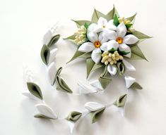 Kanzashi Fabric Flowers hair clip with falls. White and by JuLVa