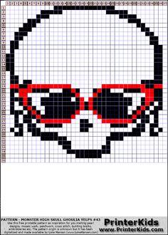 Monster High Ghoulia Yelps Skull Logo perler bead pattern