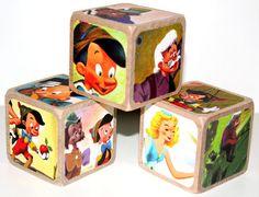 Pinocchio Wooden Baby Blocks  Children's Blocks  by Booksonblocks, $17.00