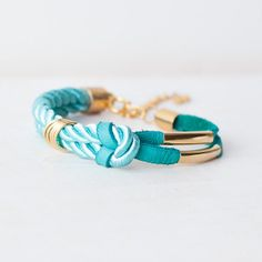 turquoise  light blue cyan bracelet  leather  cord with nautical bracelet silk twisted cord  bangle knot bracelet bracelet