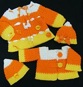 Ravelry: Candy Corn Crochet Sweater and Hat pattern by Kris Moore