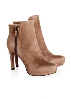 Pura Lopez Germaine- Medium heel ankle boots by Pura Lopez with concealed platform and zip fastening at side. Crafted from taupe suede.