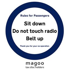 Rules for Passengers funny tax disc holder.  Fun car accessories to customize your car interior.
