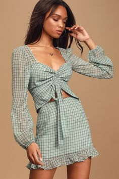The Lulus Plaid and Simple Blue Plaid Ruched Long Sleeve Top knows how to make an entrance! Ruched front top with sheer long sleeves and a sweetheart neckline. Tie Front Dress, Front Tie Top, Two Piece Outfit, Two Piece Dress, Blue Plaid, White Plaid, Gingham, Cute Tops, Pajama Set