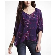 {express} sheer purple peasant top Sheer floral chiffon peasant top. Size XS. Oversized fit. Can also fit a S/m. New without tags. Express Tops Blouses