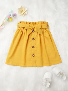 To find out about the Toddler Girls Button Front Belt Skirt at SHEIN, part of our latest Toddler Girl Skirts ready to shop online today! Little Girl Skirts, Skirts For Kids, Baby Girl Dresses, Baby Outfits, Baby Dress, Kids Outfits, Cute Outfits, Toddler Outfits, Baby Skirt