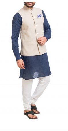 Navy Blue Kurta with Beige Nehru jacket. Nehru Jacket For Men, Nehru Jackets, Mens Ethnic Wear, Wedding Store, Shop Now, Navy Blue, Menswear, Tunic Tops, Beige