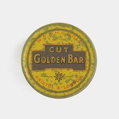 Vintage Wills Cut Golden Bar Tobacco Tin - round bright yellow red smoking cigarette pipe tobacciana metal box man cave pub 1950s 1960s