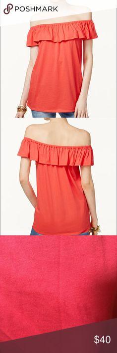 NWT off the shoulder top Cotton/modal, machine washable, ruffle trim at neckline Michael Kors Tops Blouses