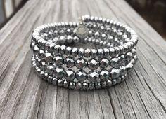 Грановитая Silver гематит Gemstone и Кристалл памяти провода Wrap браслет