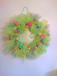 DIY Easter wreath. Tull and styrofoam eggs from $ store. by AudraL