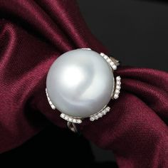white South Sea pearl ring in white gold, Pearl Rings, South Sea Pearls, Wedding Engagement, Sterling Silver Rings, White Gold, Gemstones, Jewelry, Accessories, Bead