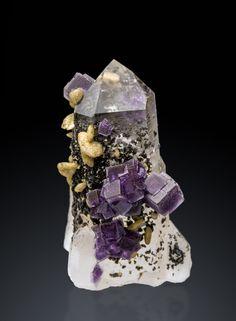 Fluorite on Quartz w/ Siderite - Panasqueira, Castelo Branco, Portugal Source: mineralmasterpiece.com