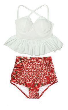 White Tankini Top and Strawberry Fruit Exotic Ruched High Waisted Waist High-Waist Vintage Retro Bikini Swimsuit Swimwear Bathing suit S M