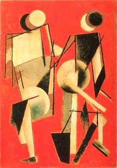 Two Figures on Red, 1920 — Artwork by Varvara Stepanova (Russian, Constructivism Russian Constructivism, Avantgarde, Russian Avant Garde, Propaganda Art, Art Optical, Surrealism Painting, Bauhaus, Russian Art, Art And Illustration