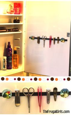 Save shelf space by hanging items from magnet strips.