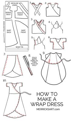 Wrap dresses are such a classic style, but are also so huge this season. Learn how to make your own wrap dress with this simple sewing tutorial! Dress Sewing Tutorials, Dress Sewing Patterns, Sewing Patterns Free, Free Sewing, Sewing Hacks, Sewing Tips, Tutorial Sewing, Sewing Crafts, Linen Dress Pattern