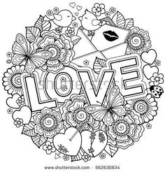 Vector coloring book for Adult. Design for wedding invitations and Valentine's Day of abstract flowers, hearts, envelope, arrow, heart, bird, kiss, butterfly