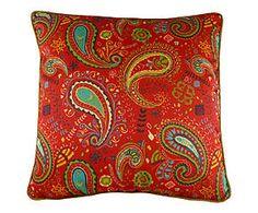 Cuscino arredo misto cotone Paisley rosso - 43x43 cm