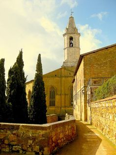 """church road in Pienza, Tuscany. Beautiful place. Also wonderful restaurants. If you like beef you cannot miss the """"Fiorentina"""". Pienza is very close to Siena where very year is held the """"Palio"""". A wonderful horse-race in an amazing atmosphere that surrounds you."""