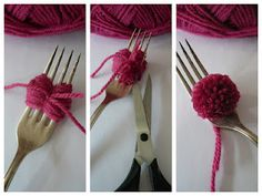 make pompons with a fork