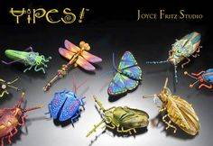 Large picture of bug pins created by Joyce Fritz, polymer clay artist Polymer Clay Animals, Polymer Clay Canes, Polymer Clay Projects, Polymer Clay Creations, Clay Crafts, Polymer Clay Jewelry, Insect Jewelry, Clay Design, Clay Figures