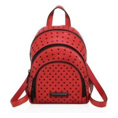 """sloane mini studded leather backpack by KENDALL + KYLIE. Studded three-tier backpack in rich pebbled leather. Top handle, 2.5"""" drop. Adjustable backpack straps, 12.75"""" drop. ..."""