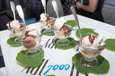 """Passed Sundaes: In June, GE and Quirky hosted an event in New York to celebrate """"Cool Story,"""" a pop-up shop in Chelsea that features Quirky's air-conditioning units. In keeping with the cool theme, snacks included passed miniature hot-fudge sundaes from Brooklyn ice cream maker Hay Rosie. Peter Callahan Catering catered the event."""