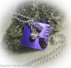 Purple Breathe Hand Stamped Square Wire Wrapped by superioragates, $10.00