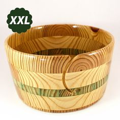 Yarn Bowl, XXL Project Bowl, For Larger Knitting or Crochet Projects with Green Accent Band; The Grandaddy of Them All For Christmas! #929 by HeckathornTurnedWood on Etsy