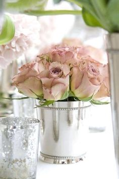 Rose Dreams...of blush roses in mint julep cups