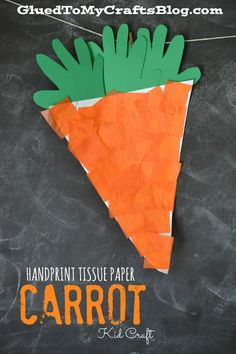 Handprint Tissue Paper Carrot {Kid Craft}