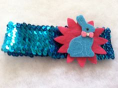 Thick bright blue sequin headband with hot pink by HairFlairLady, $7.00