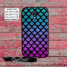 Mermaid Scales Cute Tumblr Inspired Blue and Purple Ombre Ocean Custom Galaxy S5 and S4 and S3 Case and Galaxy Note 2 and Note 3 Case
