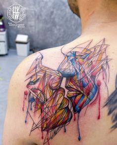 Tattoo par Jean-Sébastien HvB inspiré du street art de David Walker chez David…
