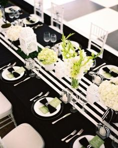 Dining Room:Black And White Design For Tablecloth With Vase And Beauty Flower And Black Napkins With Cutlery Abd White Seats Finding Some El...