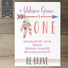 Be Brave Birthday Party Invitations / Hippie Tribal Invites / arrows  feathers | by greylein on Etsy