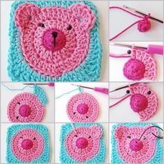 How to make a crochet granny square bear applique This is a crochet bear in square shape. It can be easily join in other square .Share Kids will love sitting around the table for meal with this cute bear coaster. The tutorial is so detailed that even Motifs Granny Square, Granny Square Pattern Free, Crochet Motifs, Granny Square Crochet Pattern, Crochet Squares, Crochet Patterns, Granny Squares, Free Pattern, Crochet Teddy Bear Pattern