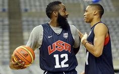 James Harden and Russell Westbrook. Teammates on OKC and USA. http://www.usatoday.com/sports/olympics/sports/basketball/659890